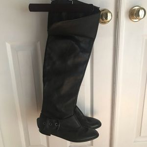 Nine West Black Leather Over Knee Buckle Boots